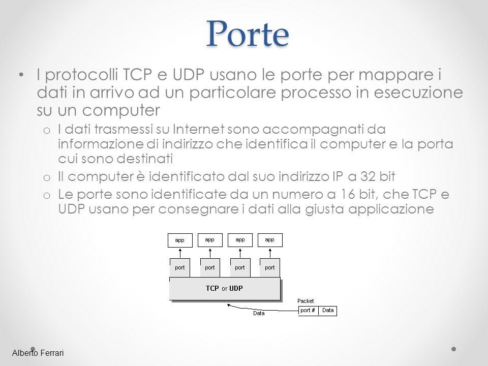 Porte I protocolli TCP e UDP usano le porte per mappare i dati in arrivo ad un particolare processo in esecuzione su un computer.
