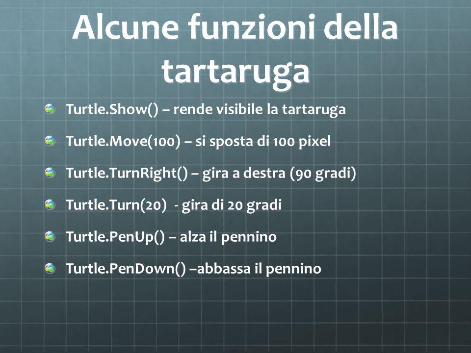 Alcune funzioni della tartaruga