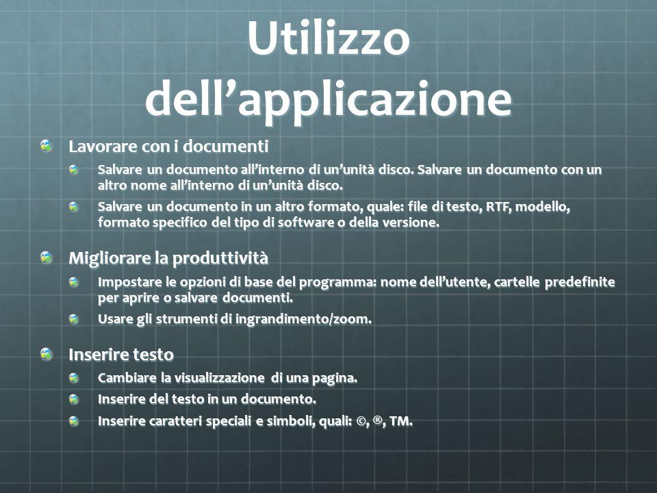 Utilizzo dell'applicazione