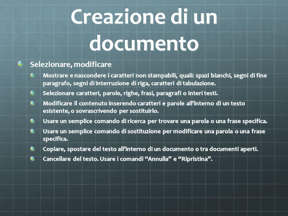 Creazione di un documento
