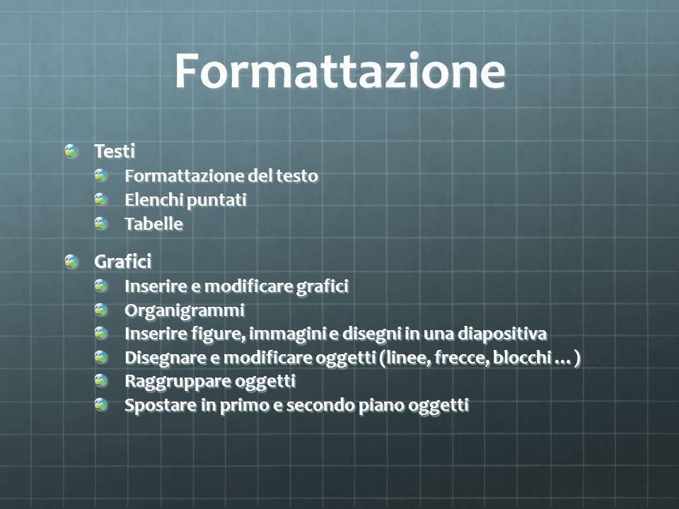 Formattazione Testi Grafici Formattazione del testo Elenchi puntati