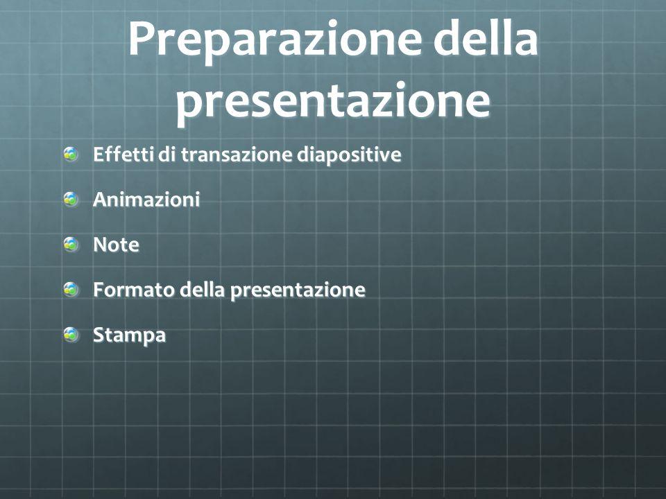 Preparazione della presentazione