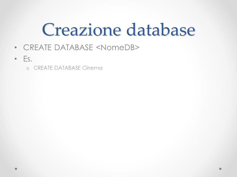 Creazione database CREATE DATABASE <NomeDB> Es.