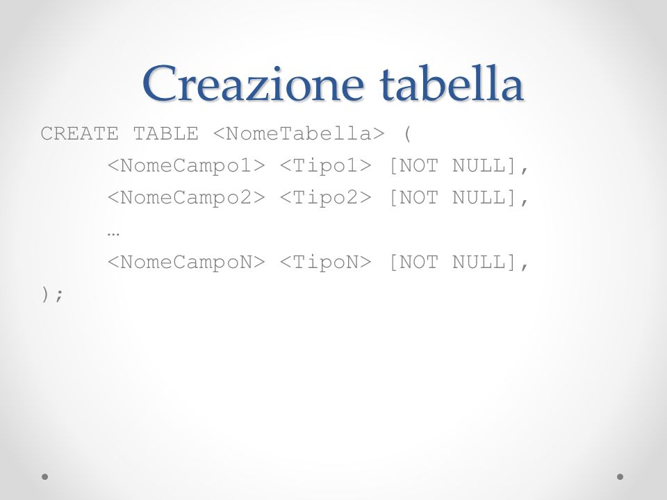 Creazione tabella CREATE TABLE <NomeTabella> (