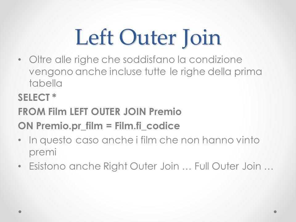 Left Outer Join Oltre alle righe che soddisfano la condizione vengono anche incluse tutte le righe della prima tabella.