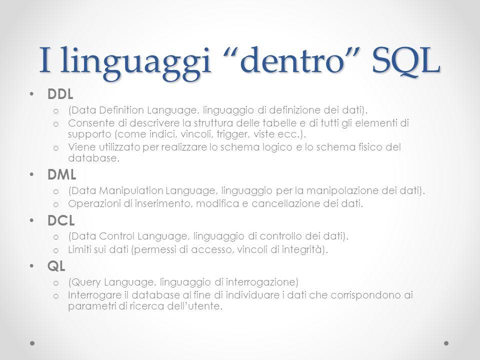 I linguaggi dentro SQL