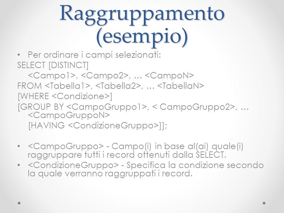 Raggruppamento (esempio)