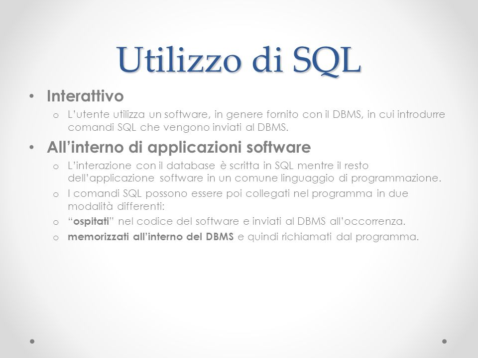 Utilizzo di SQL Interattivo All'interno di applicazioni software