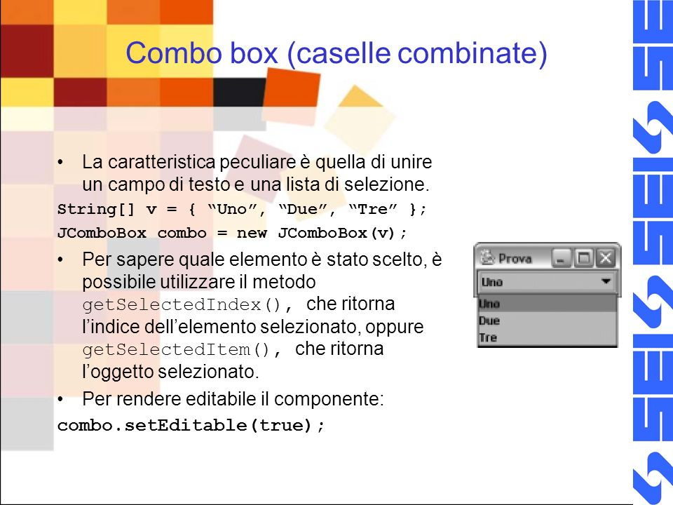 Combo box (caselle combinate)