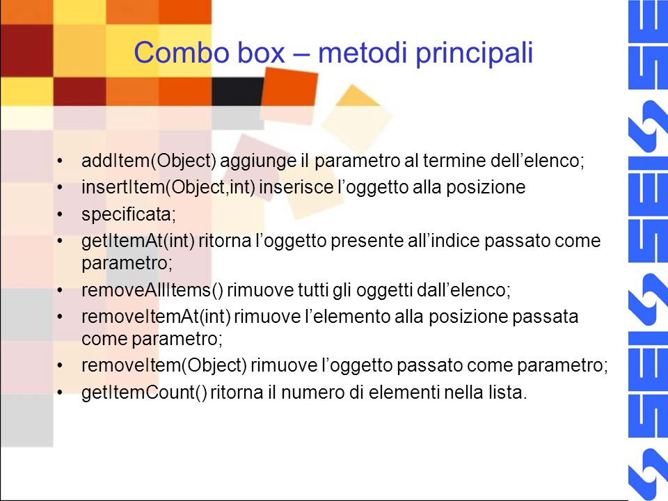 Combo box – metodi principali