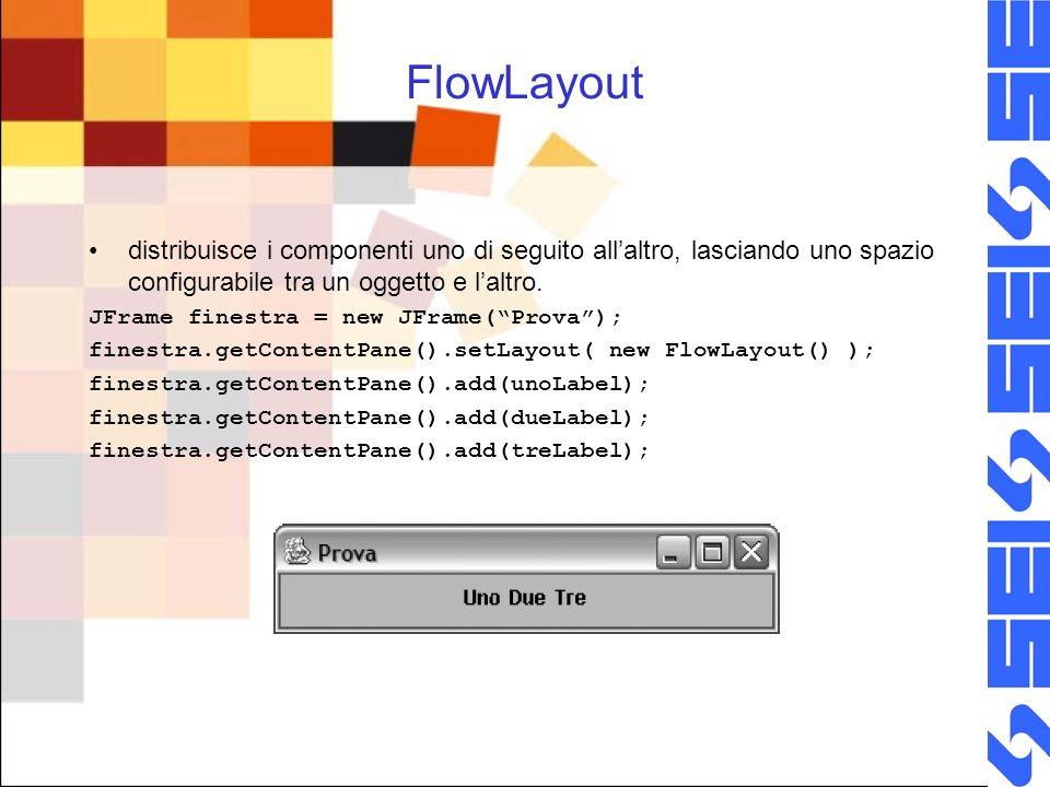FlowLayout distribuisce i componenti uno di seguito all'altro, lasciando uno spazio configurabile tra un oggetto e l'altro.