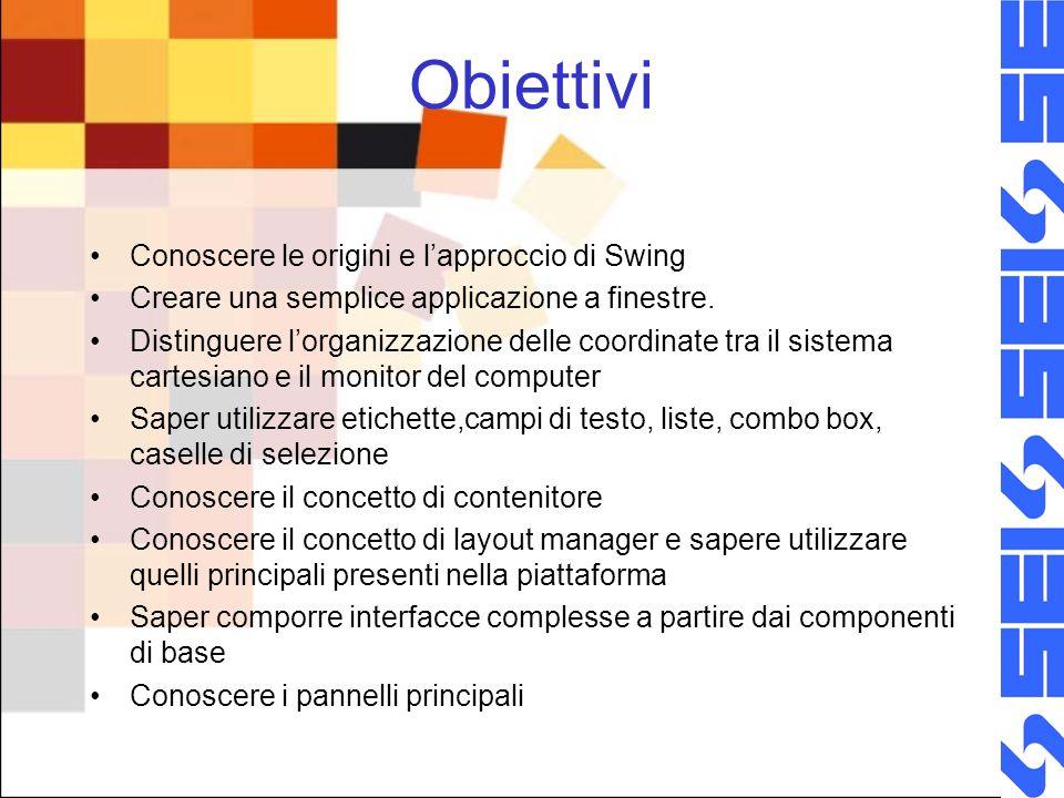 Obiettivi Conoscere le origini e l'approccio di Swing