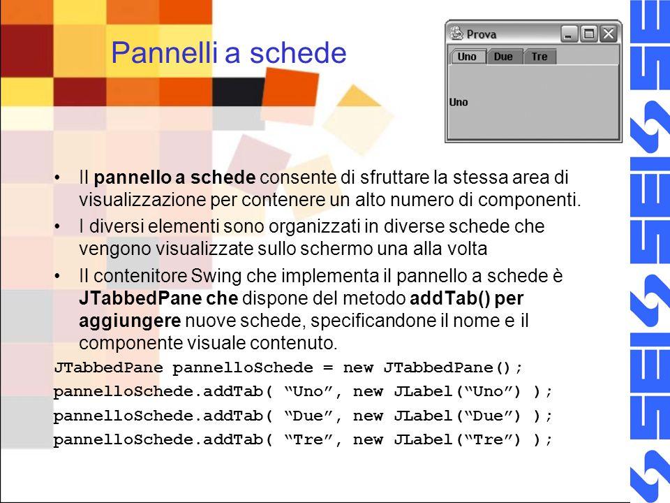 Pannelli a schede Il pannello a schede consente di sfruttare la stessa area di visualizzazione per contenere un alto numero di componenti.
