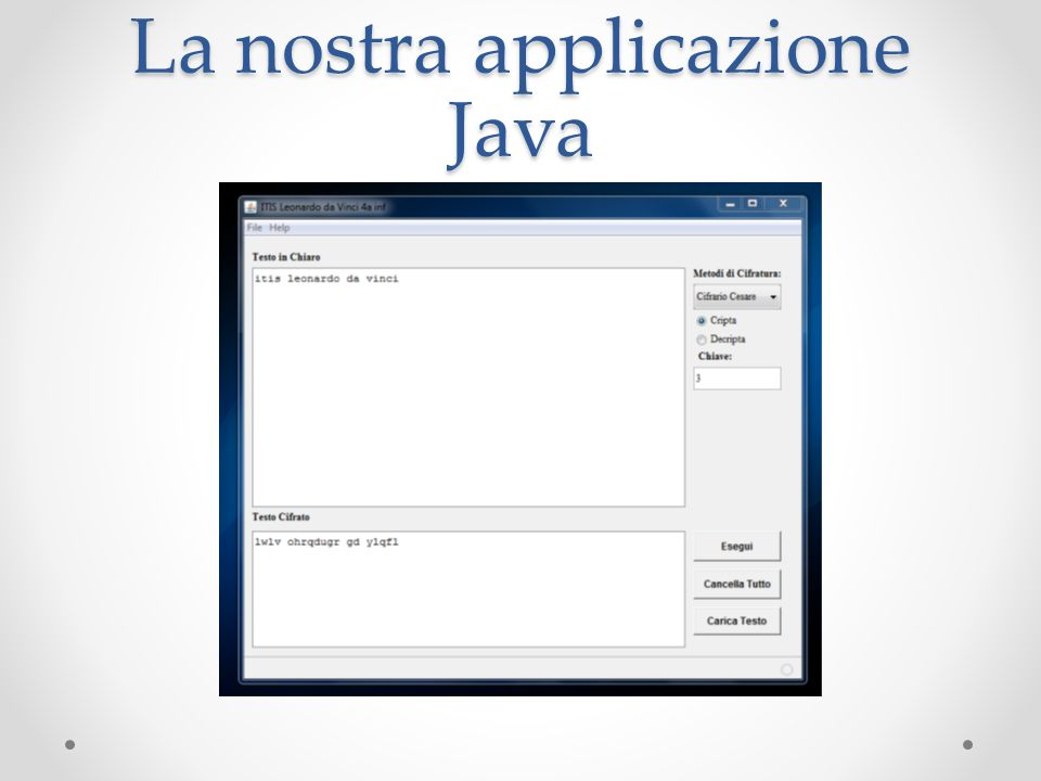 La nostra applicazione Java