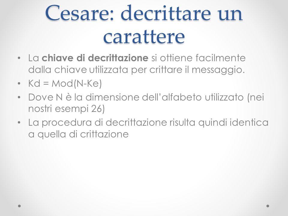 Cesare: decrittare un carattere