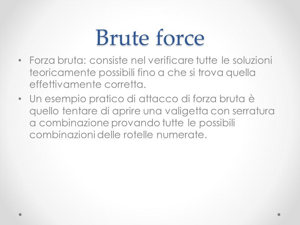 Brute force Forza bruta: consiste nel verificare tutte le soluzioni teoricamente possibili fino a che si trova quella effettivamente corretta.