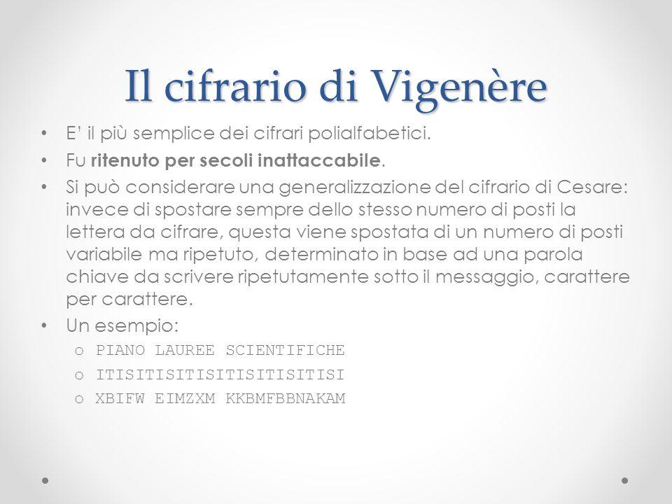 Il cifrario di Vigenère