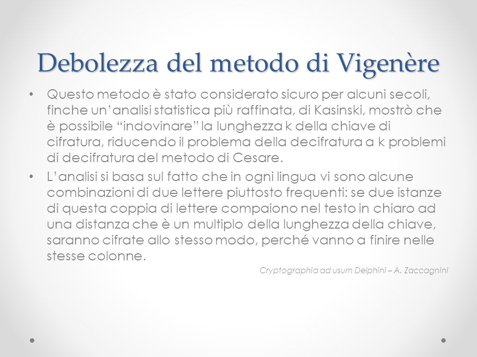 Debolezza del metodo di Vigenère