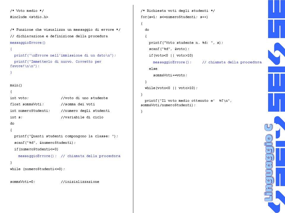 /* Voto medio */ #include <stdio.h> /* Funzione che visualizza un messaggio di errore */ // dichiarazione e definizione della procedura.