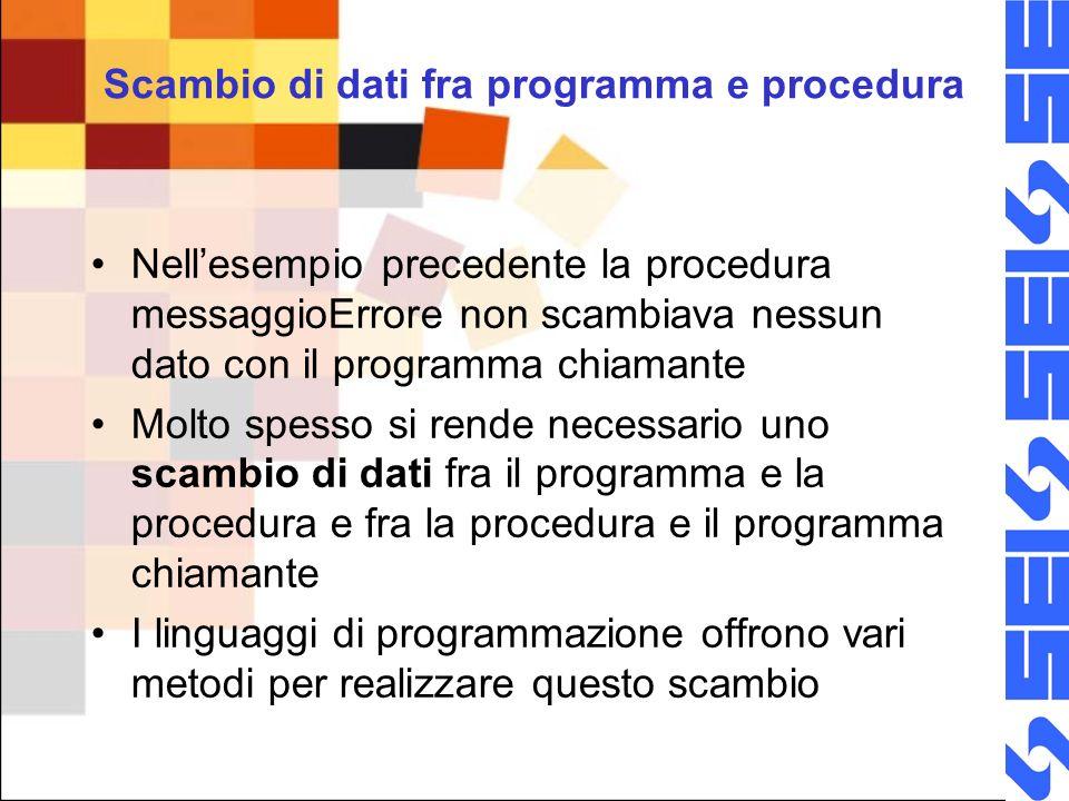 Scambio di dati fra programma e procedura