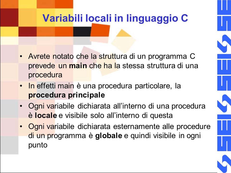 Variabili locali in linguaggio C