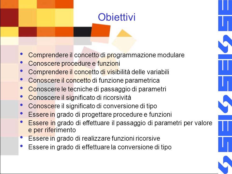 Obiettivi Comprendere il concetto di programmazione modulare