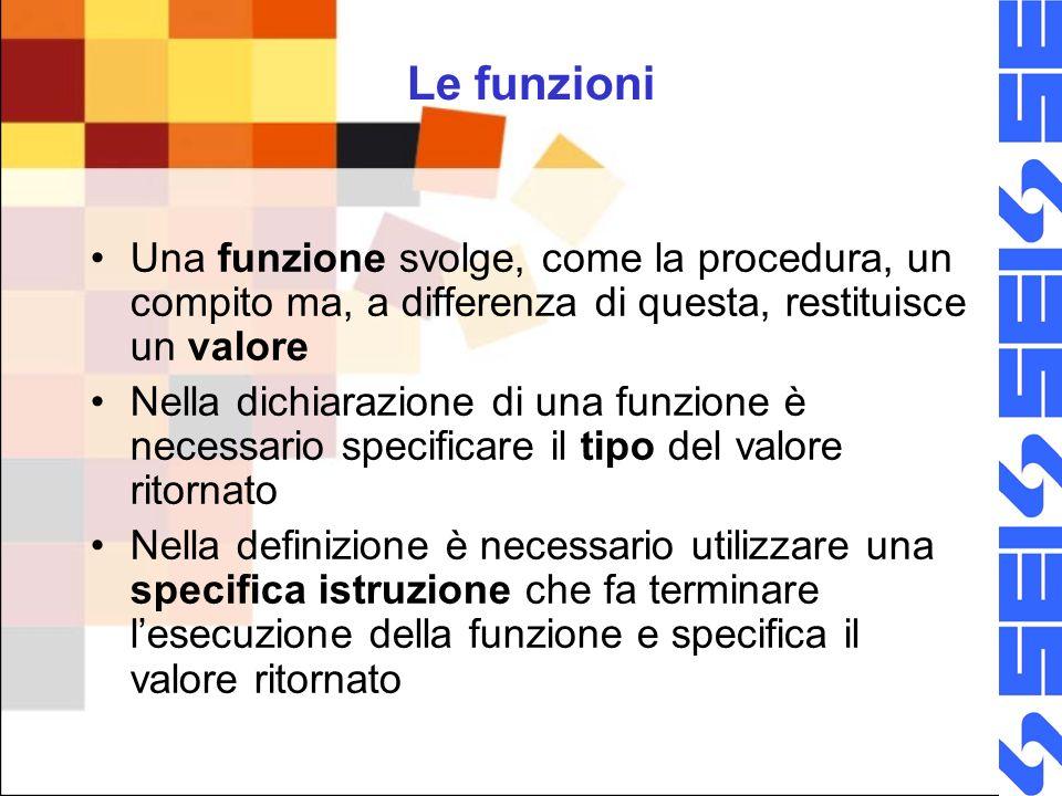 Le funzioni Una funzione svolge, come la procedura, un compito ma, a differenza di questa, restituisce un valore.