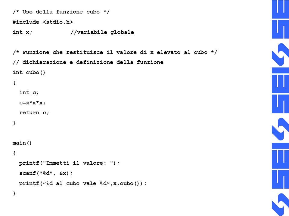 /* Uso della funzione cubo */
