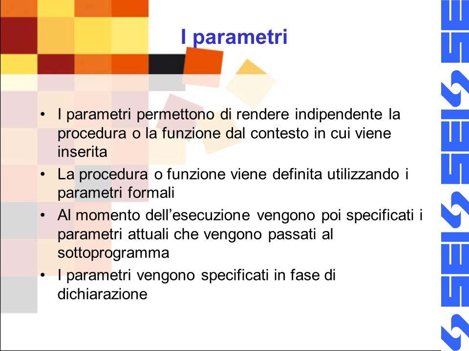 I parametri I parametri permettono di rendere indipendente la procedura o la funzione dal contesto in cui viene inserita.