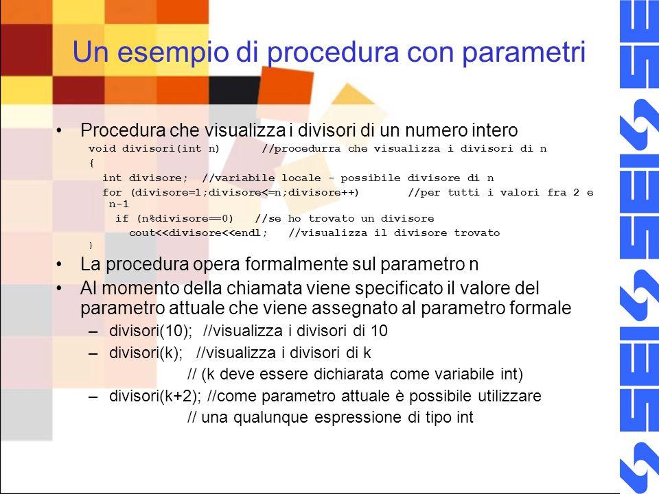 Un esempio di procedura con parametri