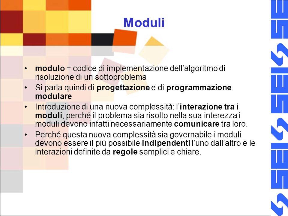 Moduli modulo = codice di implementazione dell'algoritmo di risoluzione di un sottoproblema.