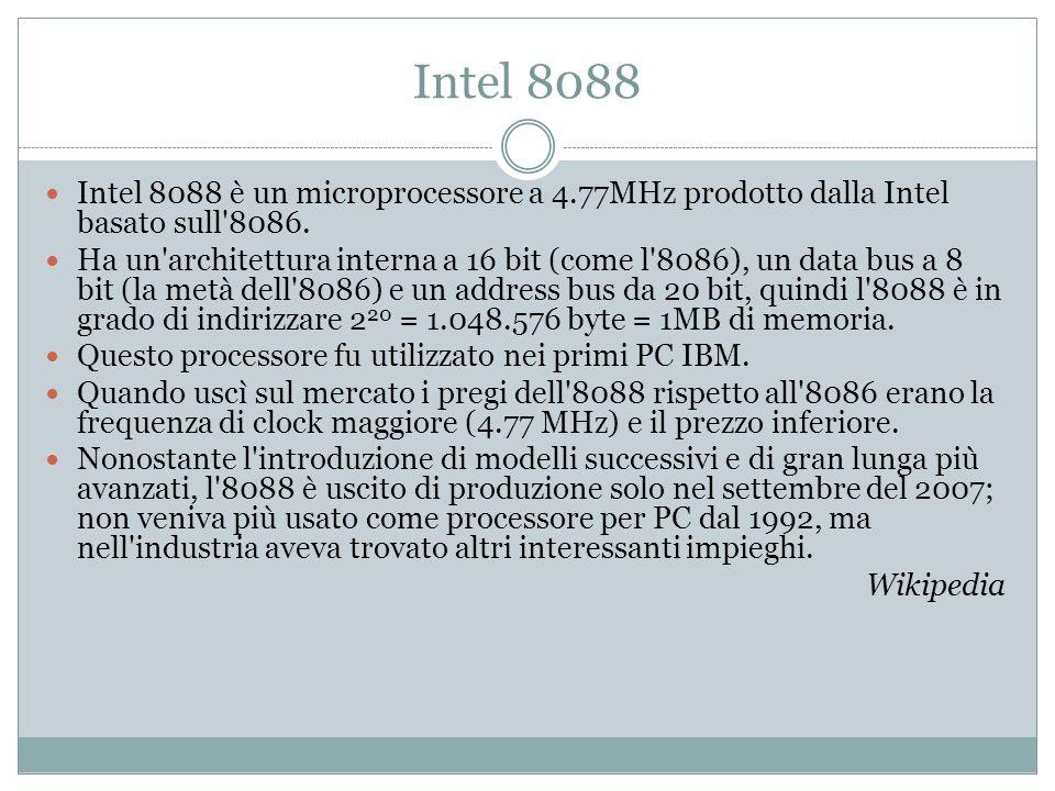 Intel 8088 Intel 8088 è un microprocessore a 4.77MHz prodotto dalla Intel basato sull 8086.