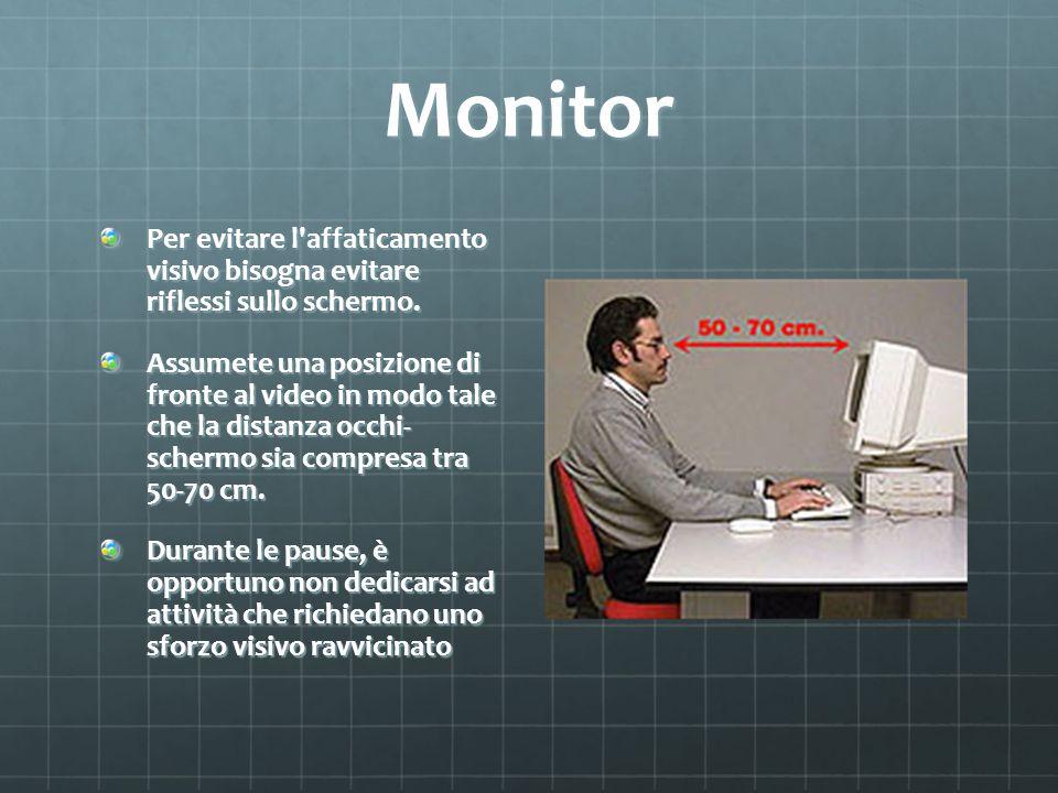 Monitor Per evitare l affaticamento visivo bisogna evitare riflessi sullo schermo.