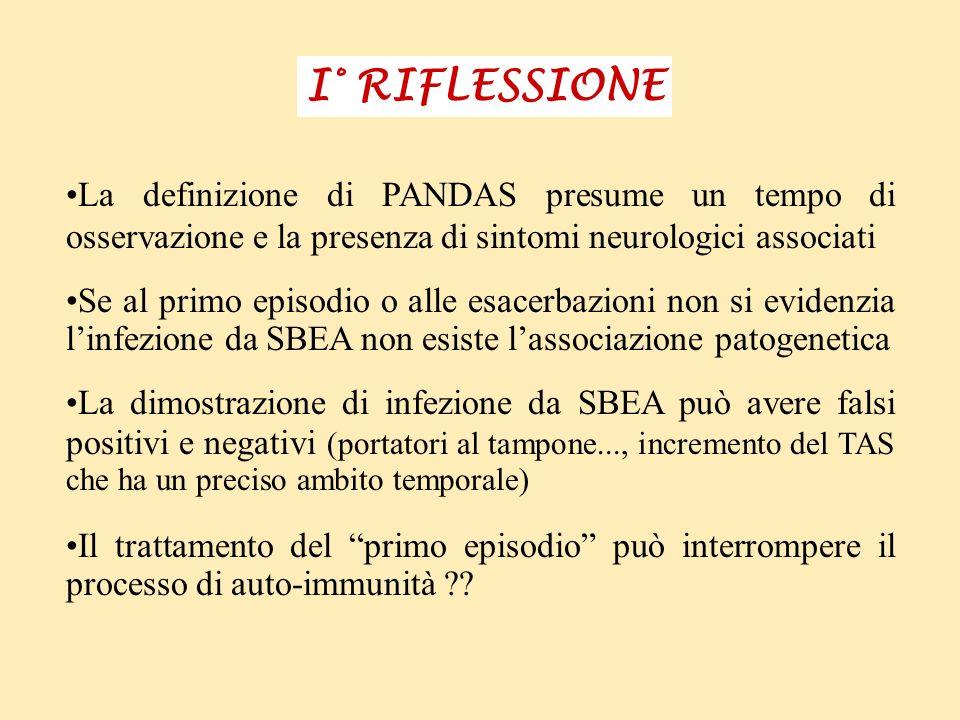 I° RIFLESSIONE La definizione di PANDAS presume un tempo di osservazione e la presenza di sintomi neurologici associati.