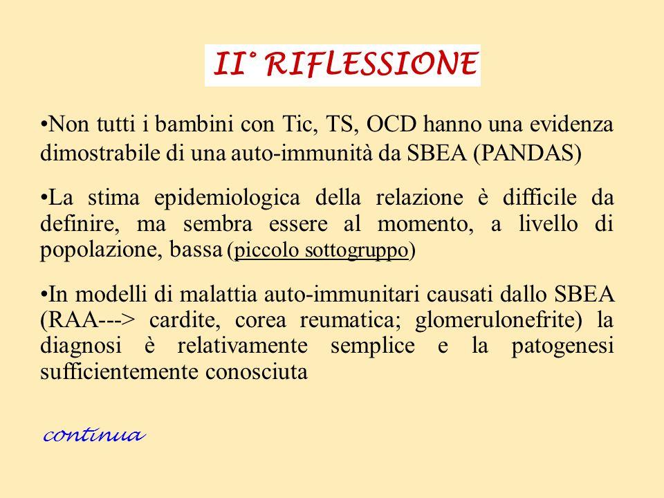 II° RIFLESSIONE Non tutti i bambini con Tic, TS, OCD hanno una evidenza dimostrabile di una auto-immunità da SBEA (PANDAS)