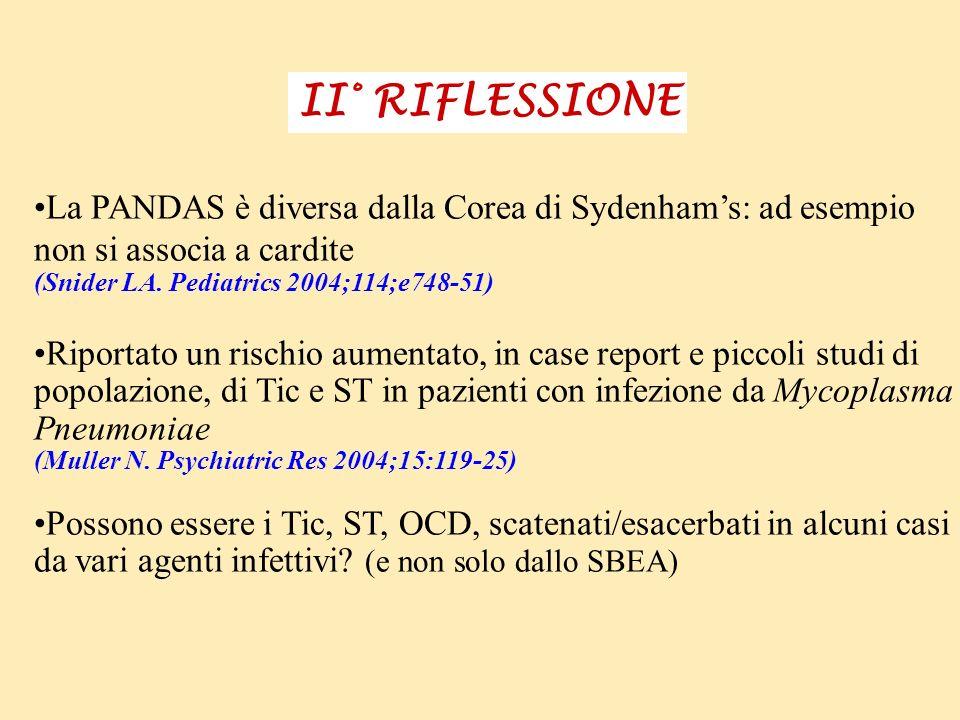 II° RIFLESSIONE La PANDAS è diversa dalla Corea di Sydenham's: ad esempio. non si associa a cardite.