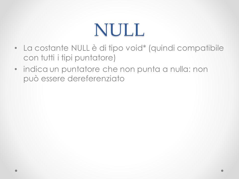 NULL La costante NULL è di tipo void* (quindi compatibile con tutti i tipi puntatore)