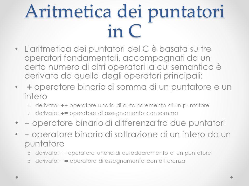 Aritmetica dei puntatori in C