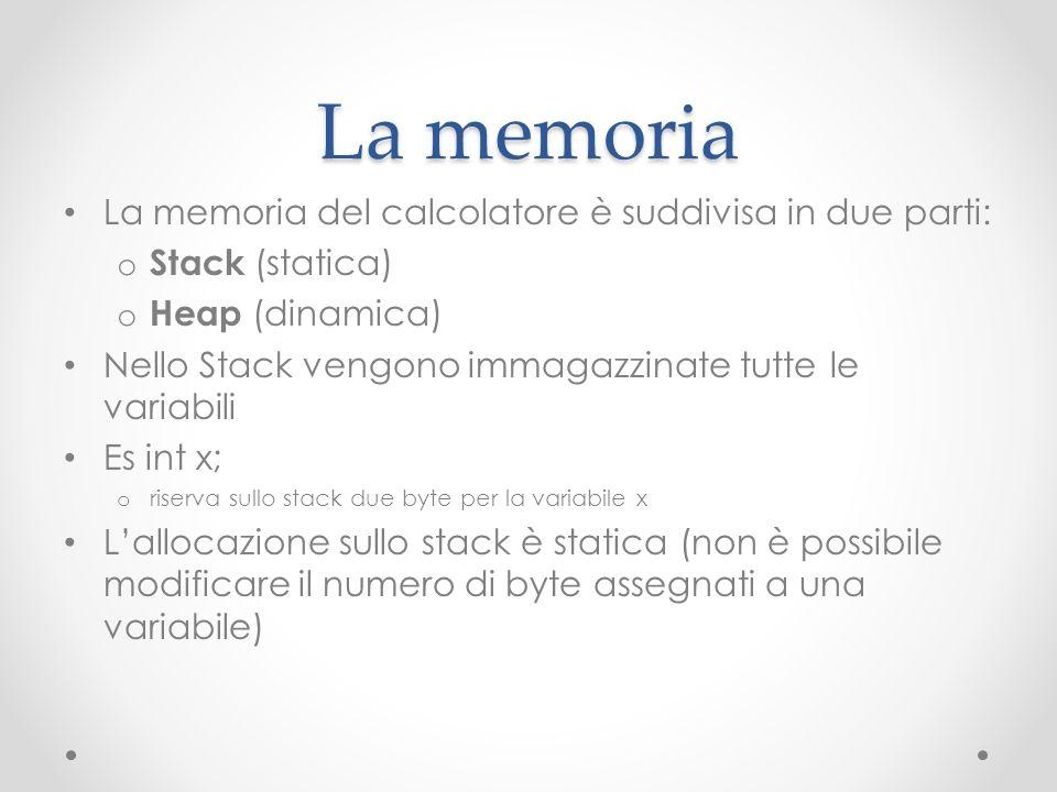 La memoria La memoria del calcolatore è suddivisa in due parti: