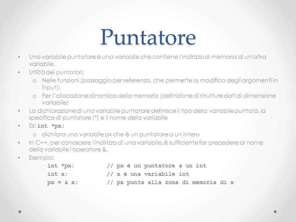 Puntatore Una variabile puntatore è una variabile che contiene l indirizzo di memoria di un altra variabile.
