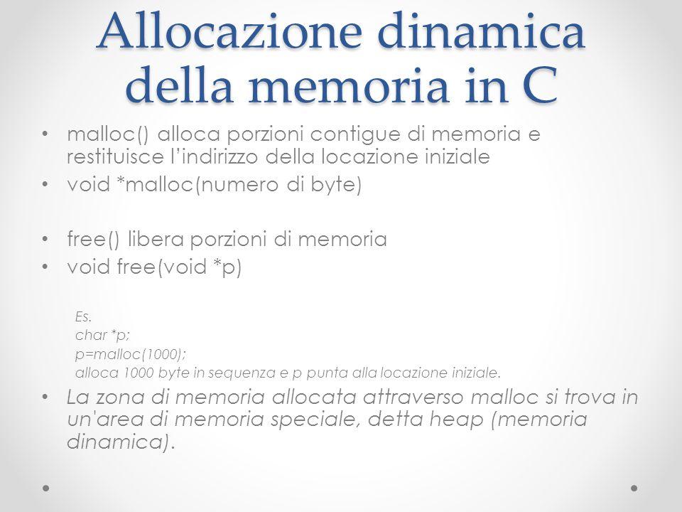 Allocazione dinamica della memoria in C