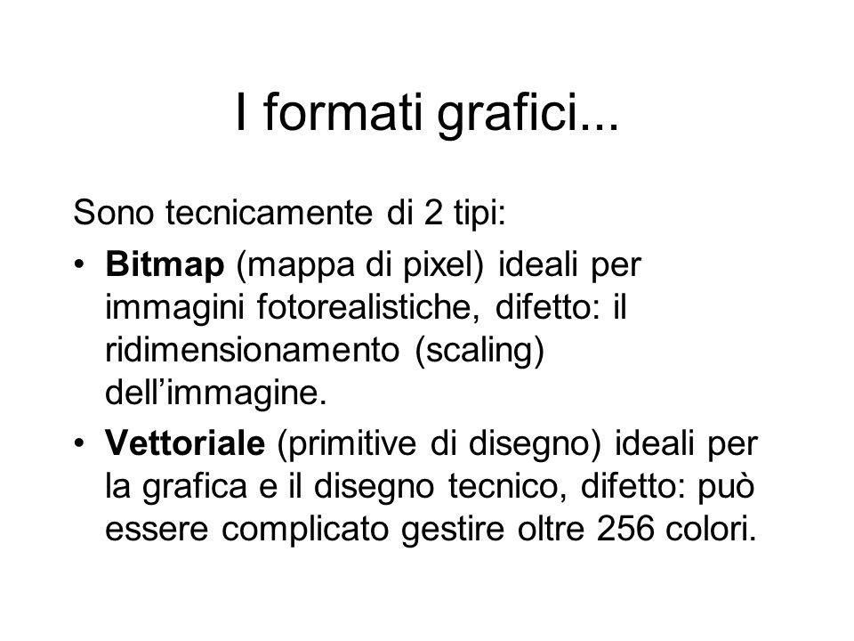 I formati grafici... Sono tecnicamente di 2 tipi: