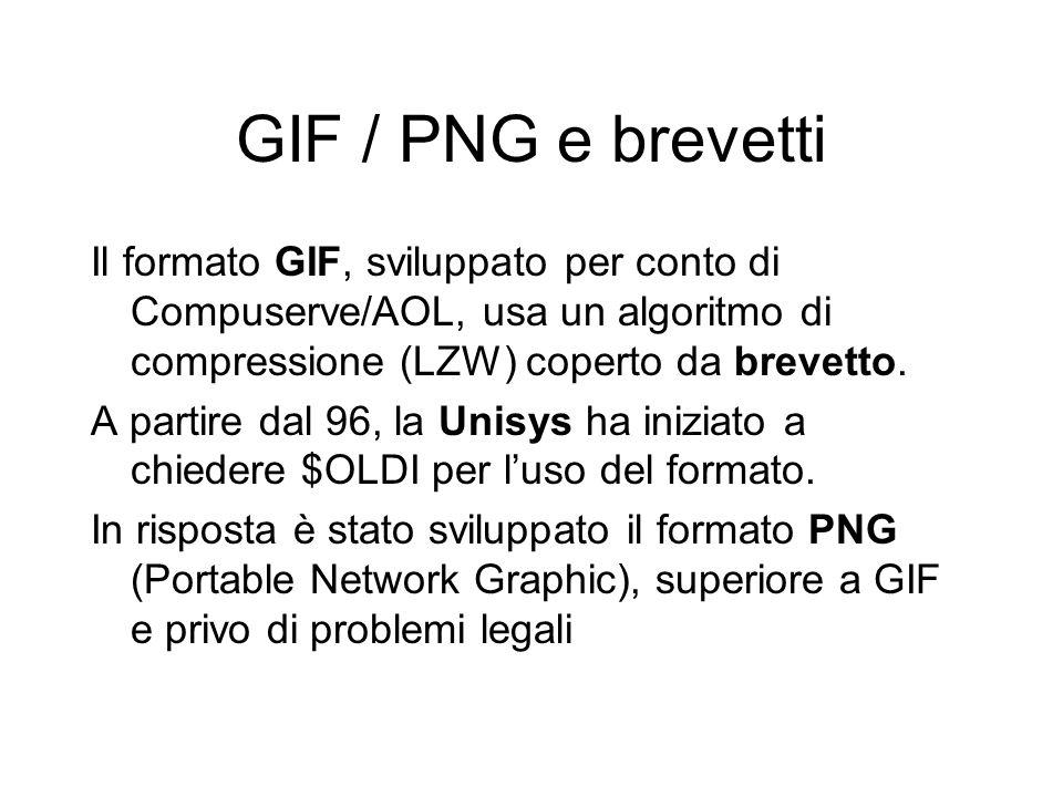 GIF / PNG e brevetti Il formato GIF, sviluppato per conto di Compuserve/AOL, usa un algoritmo di compressione (LZW) coperto da brevetto.