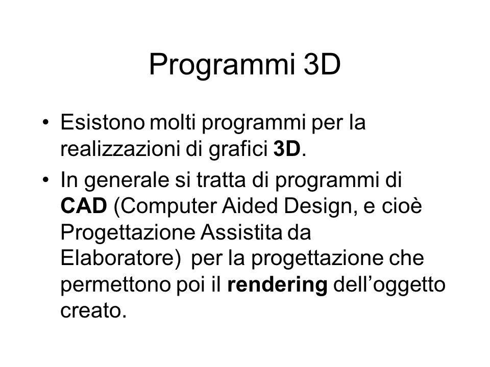 Programmi 3D Esistono molti programmi per la realizzazioni di grafici 3D.