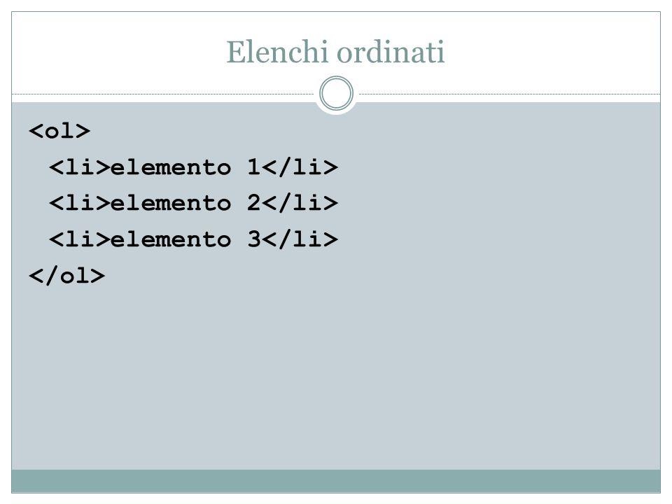 Elenchi ordinati <ol> <li>elemento 1</li>