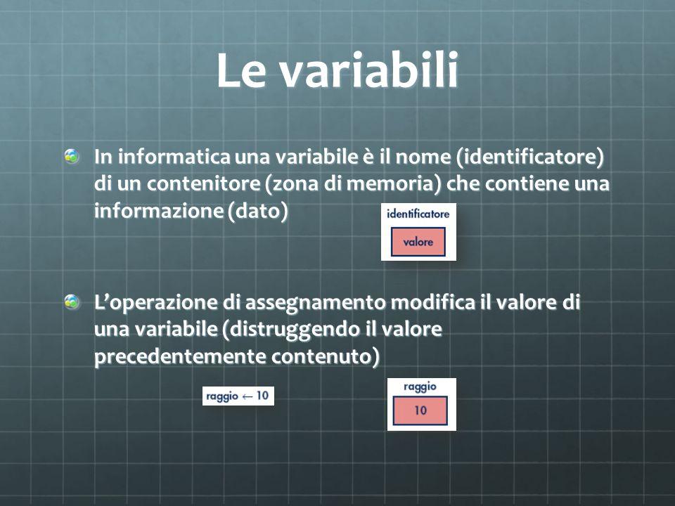 Le variabili In informatica una variabile è il nome (identificatore) di un contenitore (zona di memoria) che contiene una informazione (dato)