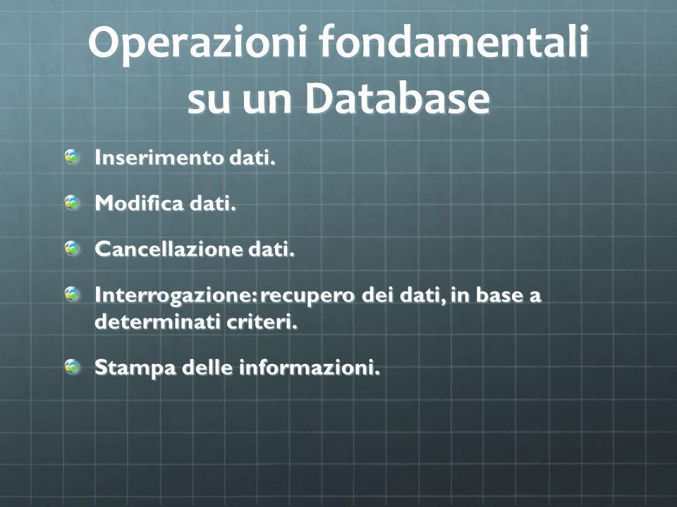 Operazioni fondamentali su un Database
