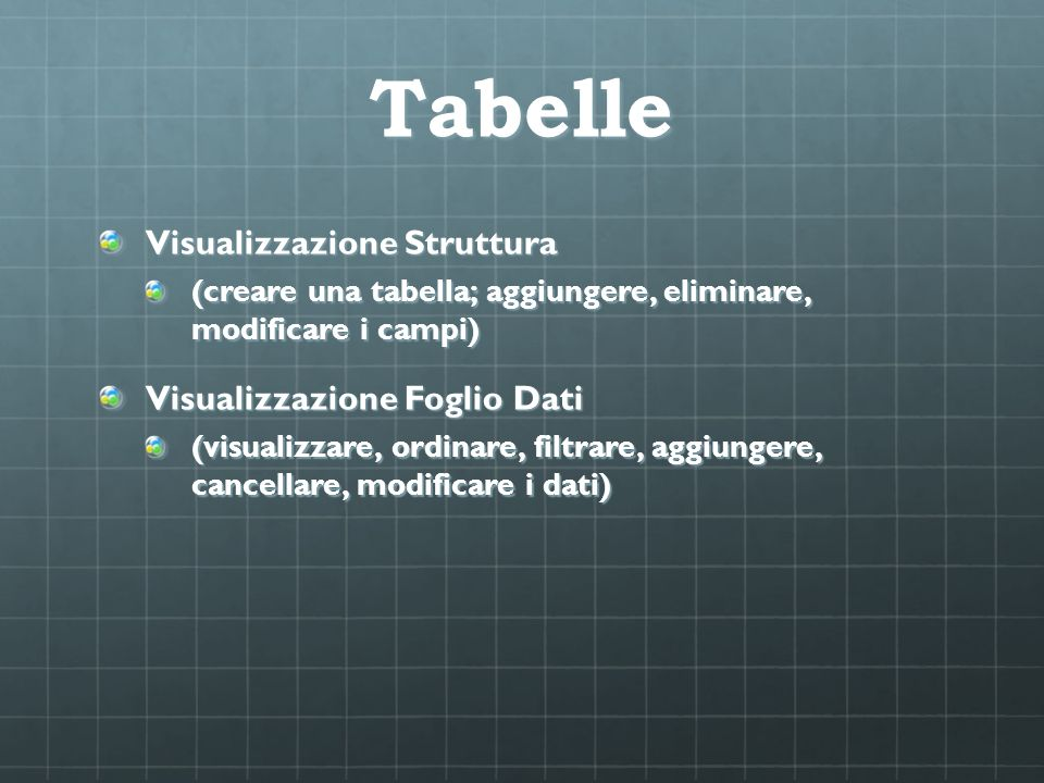 Tabelle Visualizzazione Struttura Visualizzazione Foglio Dati
