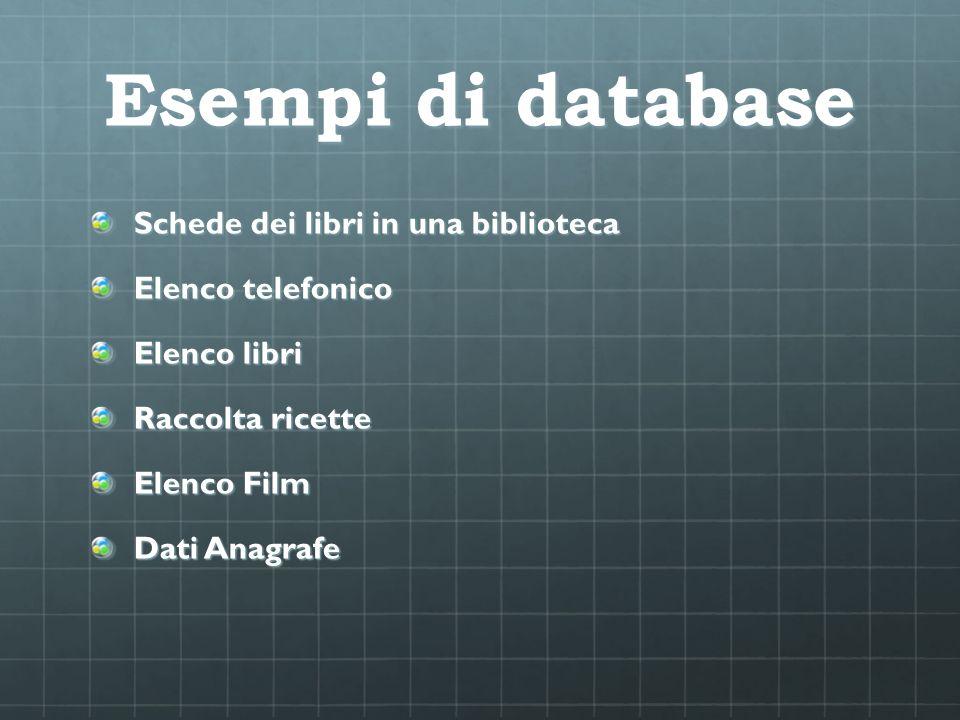 Esempi di database Schede dei libri in una biblioteca