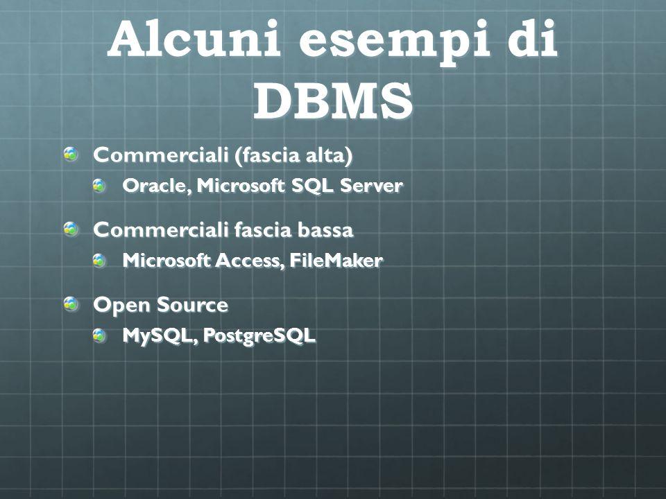 Alcuni esempi di DBMS Commerciali (fascia alta)